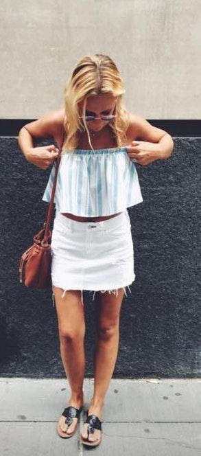 Blue Blush Blue And White Stripe Crop Top