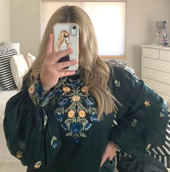 Free People Brand New Embroidered Long Sleeve