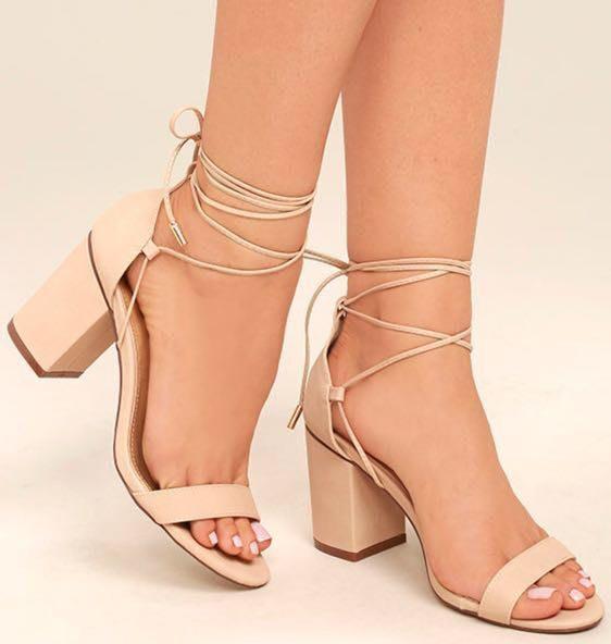 Lulus Tan Lace Up Chunky Heels