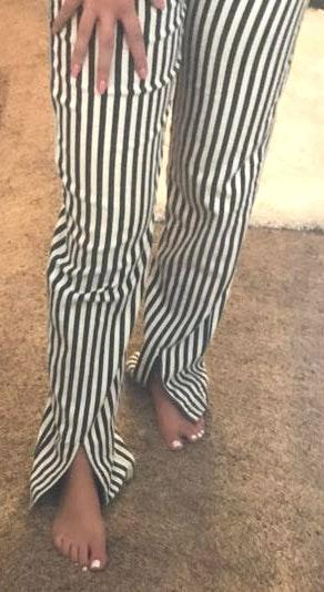 Honey Punch Blackamf White Stripped Pants