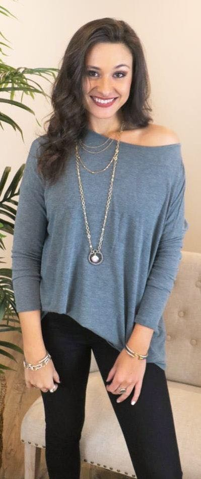 Cherish Loose Fit Round Neck Long Sleeve Top