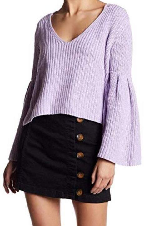 Free People BLACK V-neck Sweater with Bell Sleeves