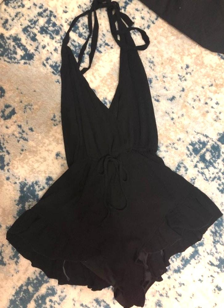 Newbury Kustom Open Back Tie Black Romper