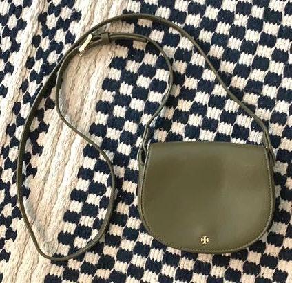 Tory Burch Olive Green Mini Saddle Bag
