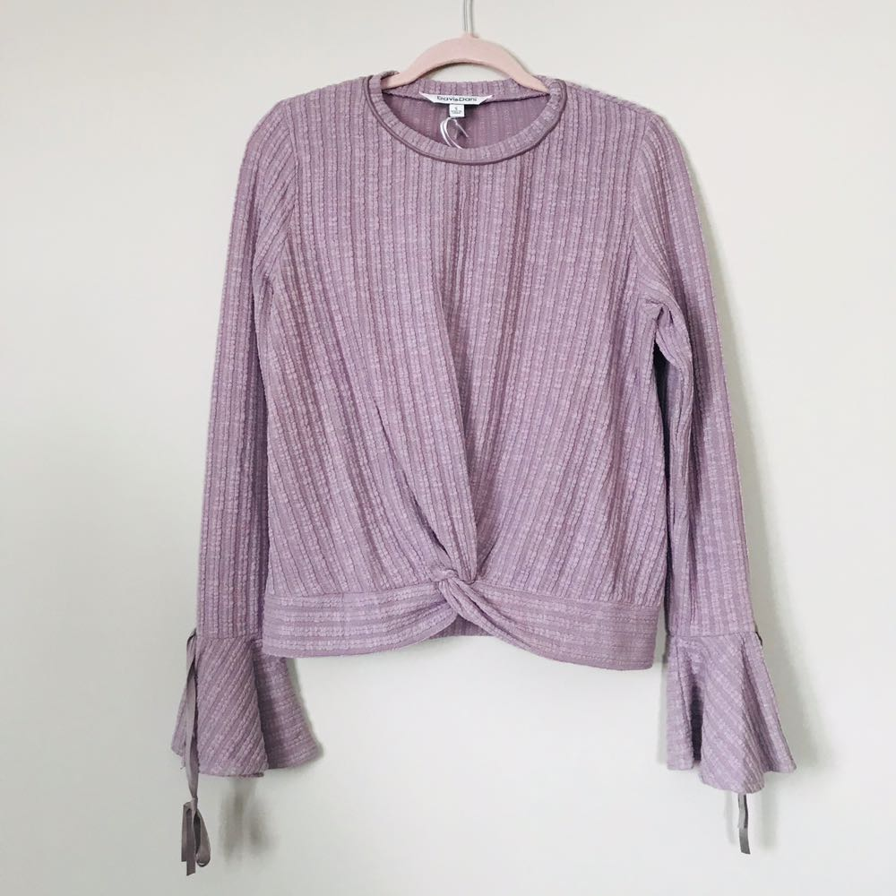 Dusty Lilac Bell Sleeve Knot Tie Top