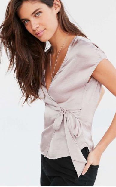 Urban Outfitters Satiny Lavender Wrap Tie Blouse