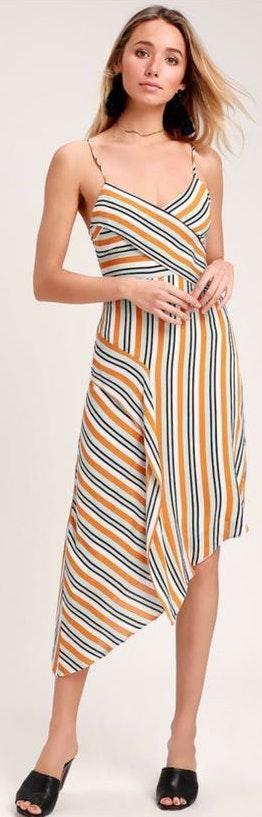 Lulus Stripped Asymmetrical Dress