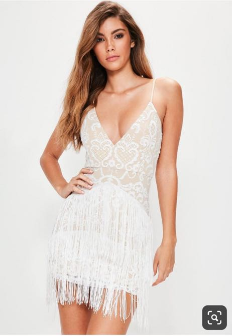 Missguided White Embroidered Tassel Bodycon