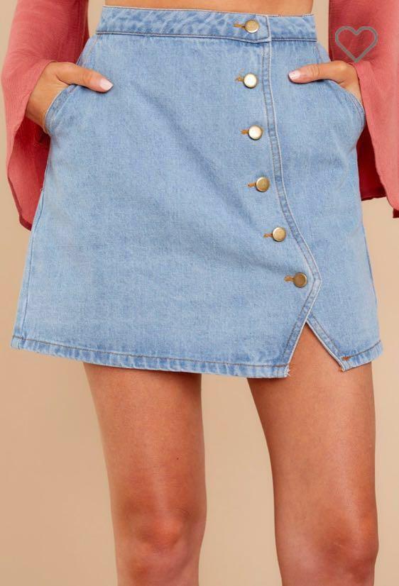 Honey Belle Button Up Denim Skirt