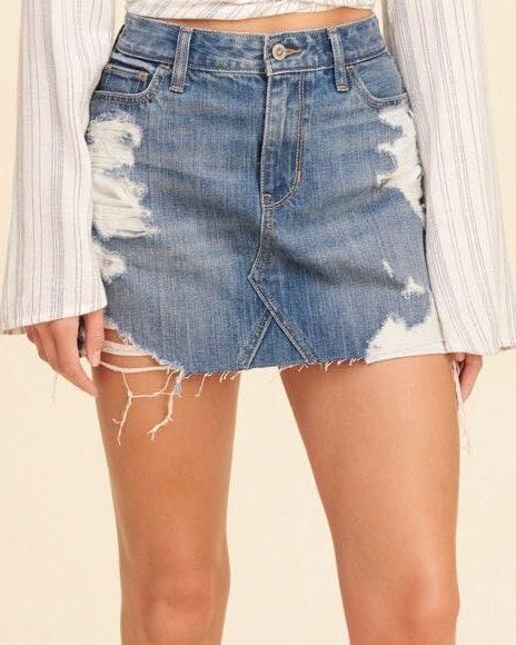 f88927629 Hollister High Rise Denim Skirt