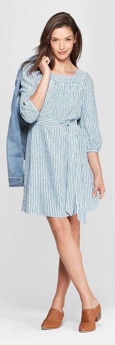 Universal Thread Blue Striped Tie Dress