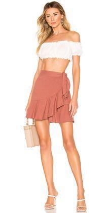 Free People Wrap Tie Ruffle Burnt Orange Skirt