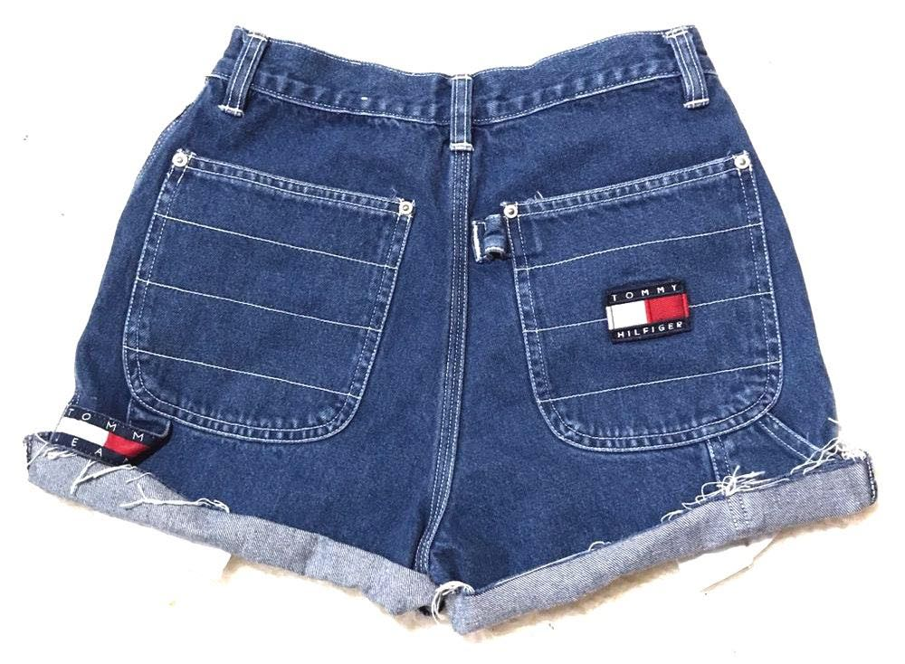 Tommy Hilfiger Vintage  High Waisted Trendy Dark Wash Festival Coachella Denim Jean Shorts 25