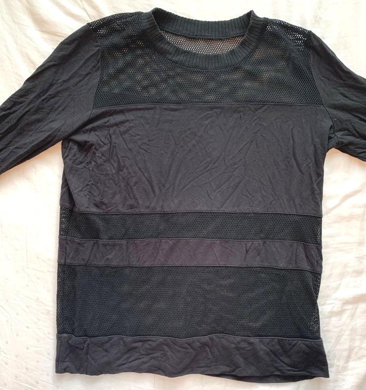 Alo Yoga Black Cotton And Mesh Top