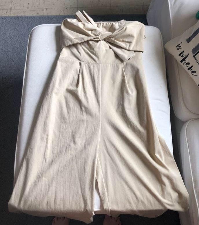 Beige Linen Strapless Jumpsuit