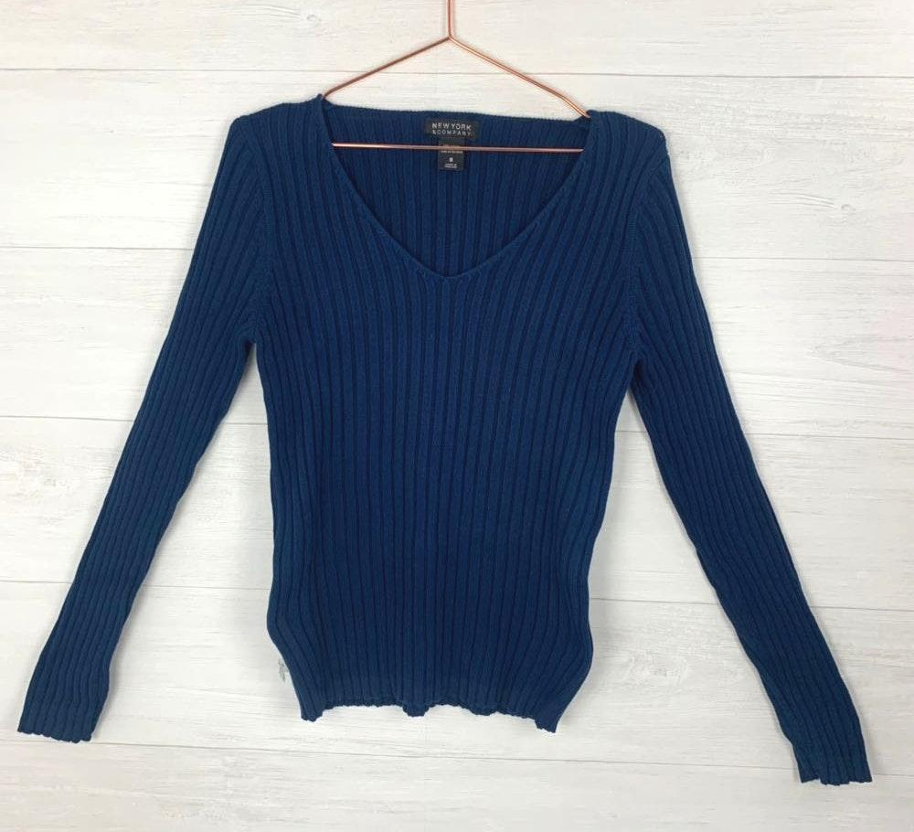 New York & Co. Navy Ribbed Long Sleeve Vneck Sweater Top
