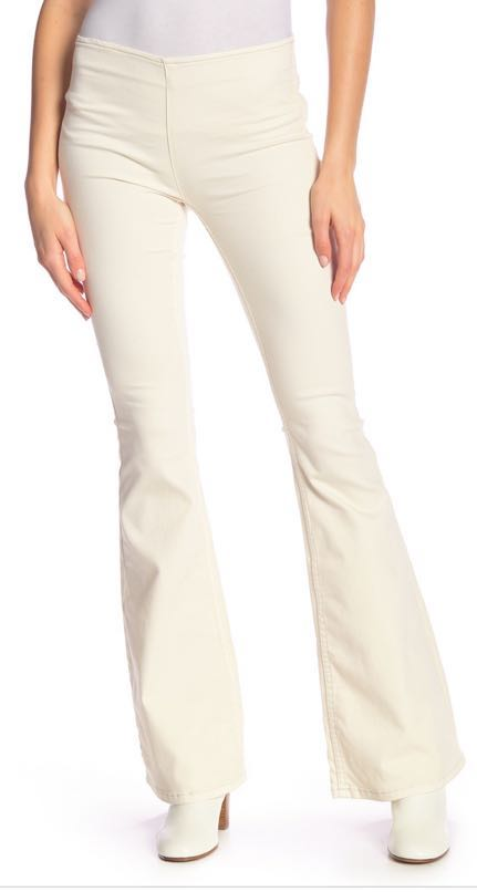 Free People White / Off White Pull On Flare Jean