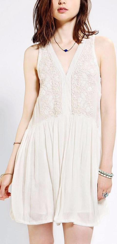 Ecote Embroidered Babydoll Tank Dress: