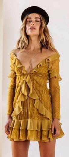 For Love & Lemons Daphne Lace Wrap Dress Yellow Size Xxs