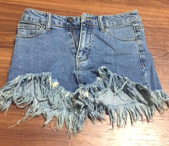 The apple tree boutique Frayed Jean Shorts