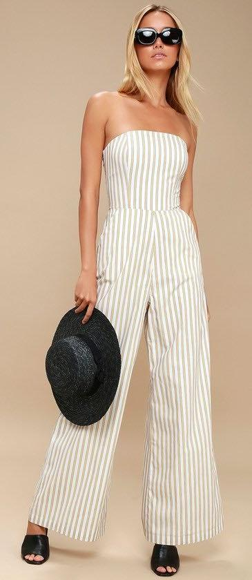 Ali & Jay Strapless wide leg jumpsuit