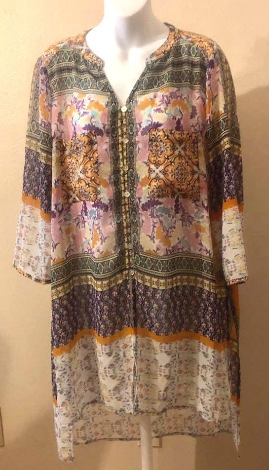 Figueroa & Flower Multicolor Shear Long Tunic Top Dress Cover-Up Size XL