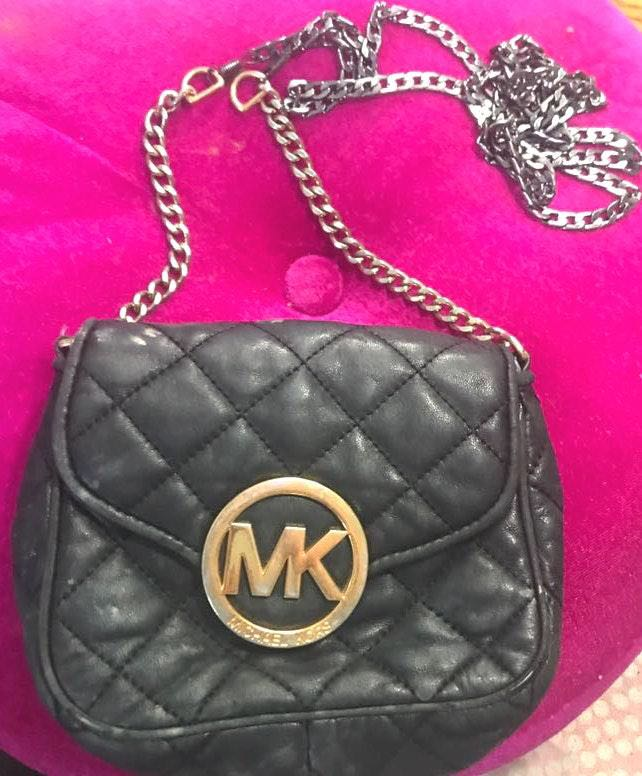 Michael Kors MK black Quilted Leather Crossbody