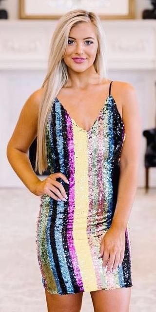 These Three Boutique Marvel Striped Party Dress