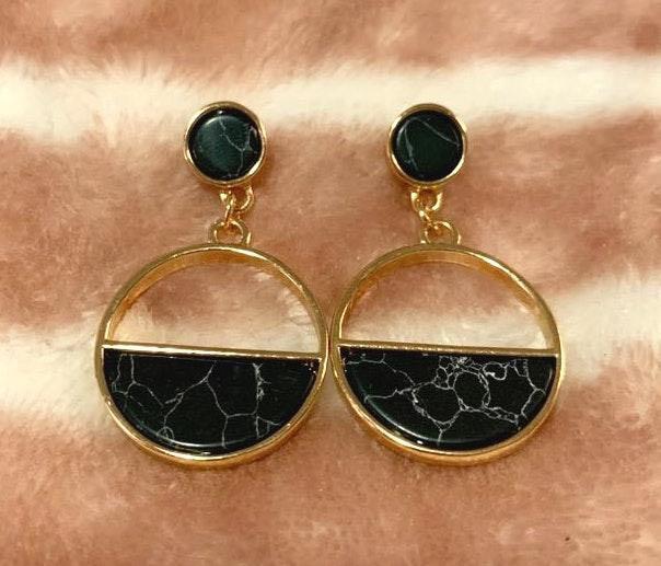 Black Marbled Drop Earrings