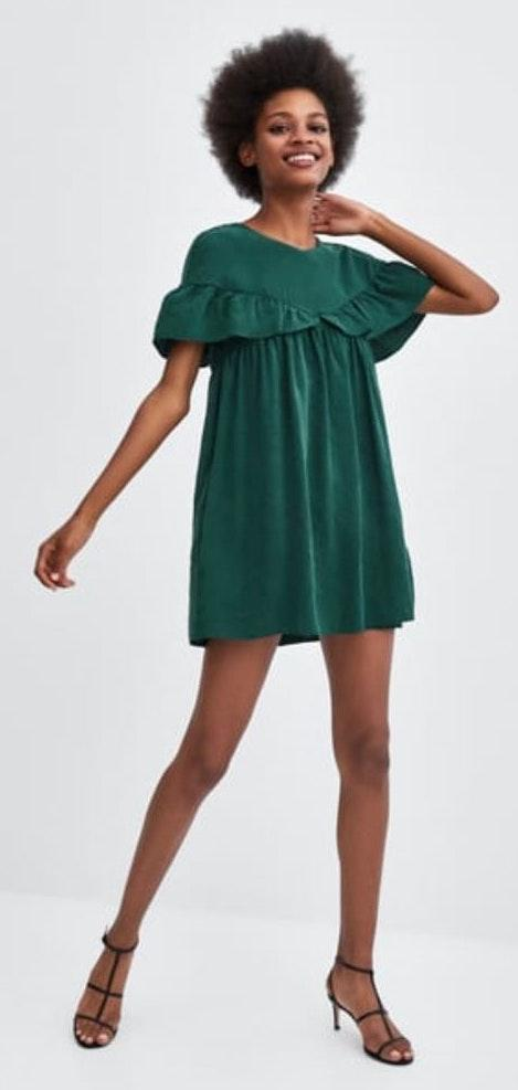 ZARA Green Ruffled Romper Dress