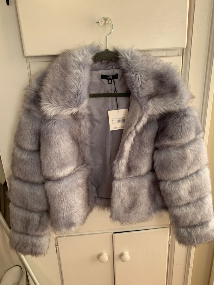 Missguided Gray Fur Jacket