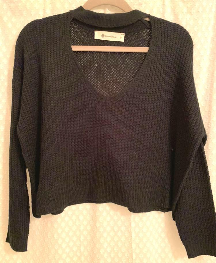 Impeccable Pig Black Crop Choker Sweater