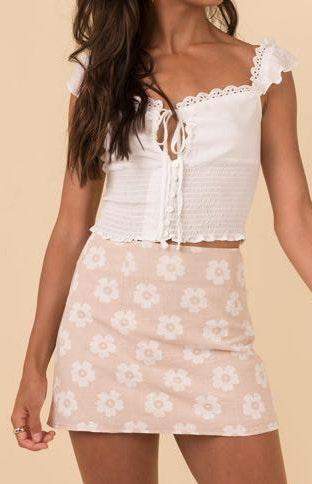 Princess Polly White Floral Beige Skirt