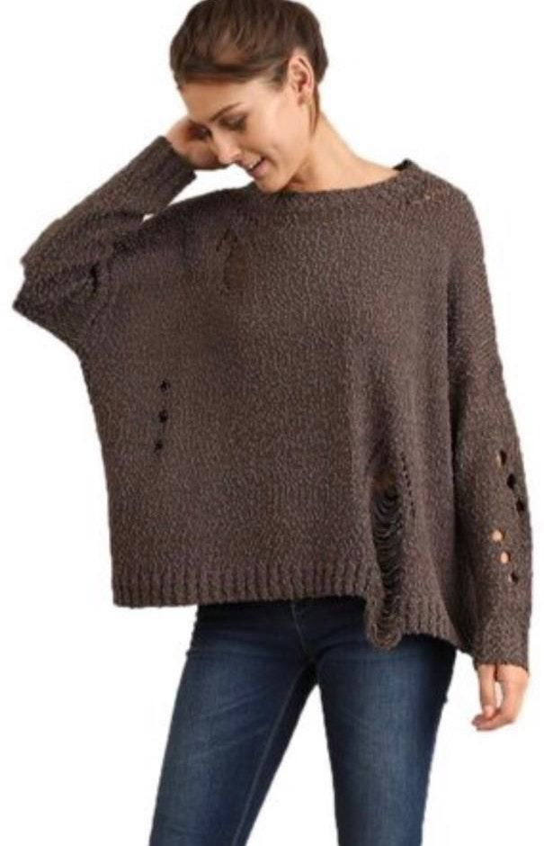 Umgee Brown Distressed Sweater