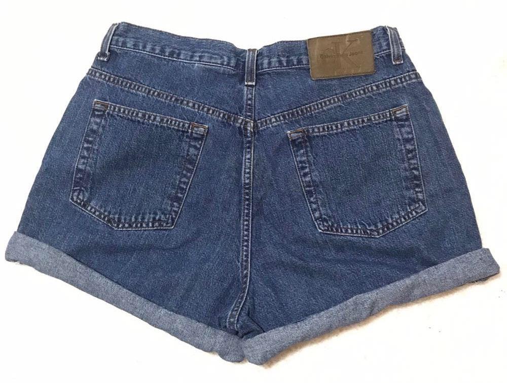 Calvin Klein Vintage Tumblr Instagram Trendy High Waisted Easy Fit Denim Jean Short