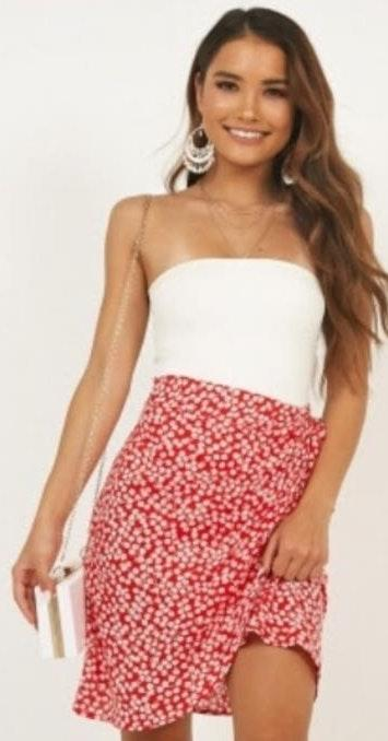 Showpo Red And White Wrap Skirt
