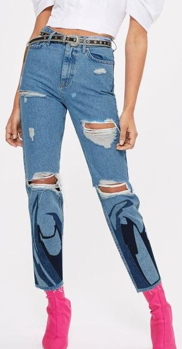 Topshop Flame Appliqué Ripped Mom Jeans