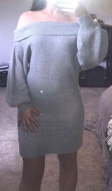 Amazon Off Shoulder Gray Sweater Dress