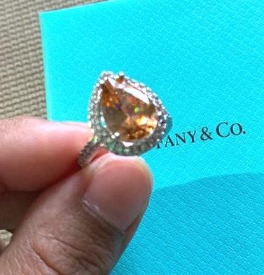 Australian Crystal Amber Stone Pear Shape Ring...