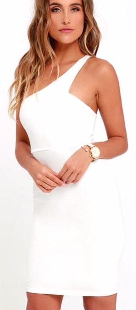 Lulus White One Shoulder Mini Dress