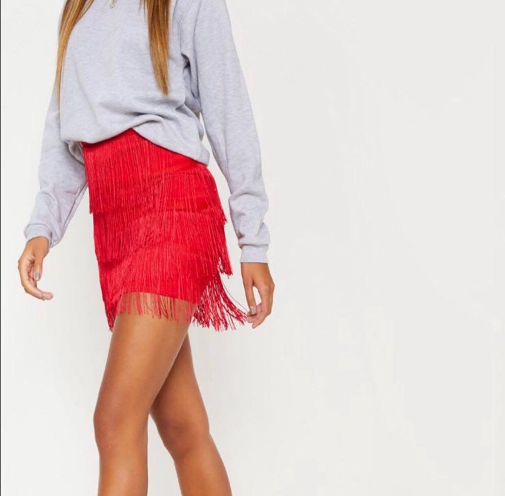 Missguided Red Fringe Skirt
