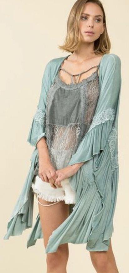 POL Boho Sage Lace Kimono