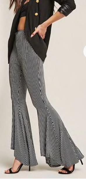 Forever 21 B&W Striped Flares
