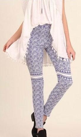 Umgee Elastic Waist Print Leggings