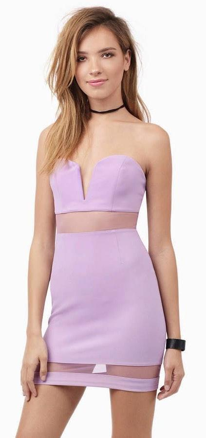 Tobi Strapless Lavender Dress With Mesh