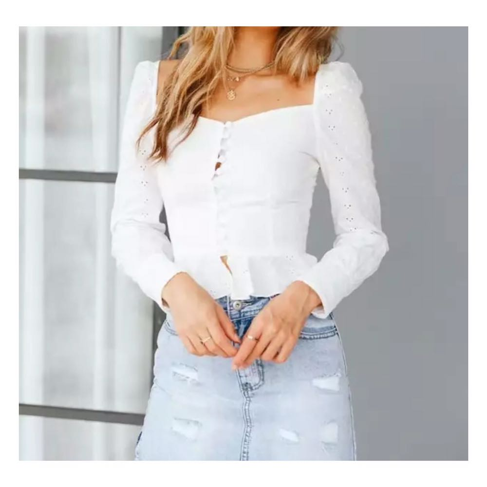 White ruffle crop top blouse