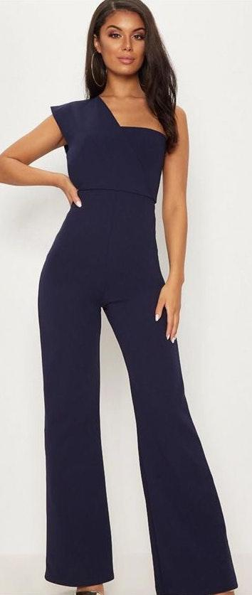 Pretty Little Thing Navy One Shoulder Jumpsuit