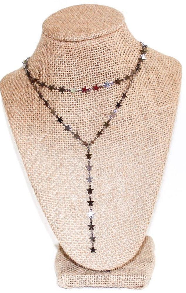 Beaded by Meg Gunmetal Star Y Necklace