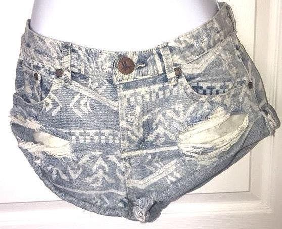One Teaspoon One X  26 Aztec Roll Up Shorts