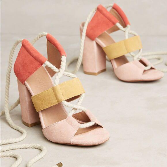 Bettye Muller Chunky Lace Up Heels